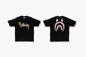 Stussy x Shark Face Tee - Photo: BAPE