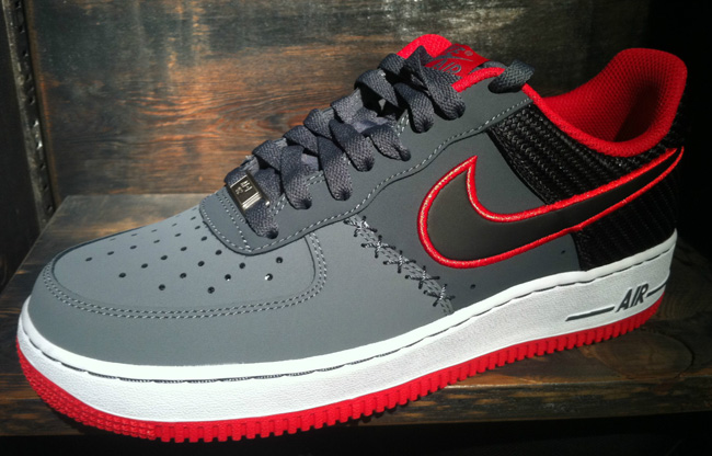 red and gray air force ones